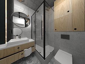 Industrial - Mała czarna szara łazienka w bloku w domu jednorodzinnym bez okna, styl industrialny - zdjęcie od DYLIK DESIGN