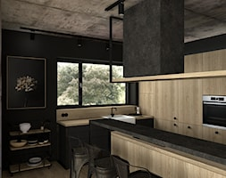 Industrial - Średnia otwarta czarna kuchnia w kształcie litery g z oknem, styl industrialny - zdjęcie od DYLIK DESIGN