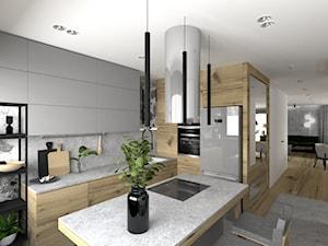 Drewno i zieleń - Duża otwarta biała kuchnia w kształcie litery l z wyspą, styl nowoczesny - zdjęcie od DYLIK DESIGN
