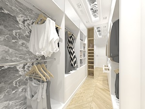 Biel i glamour - Średnia zamknięta garderoba oddzielne pomieszczenie, styl glamour - zdjęcie od DYLIK DESIGN
