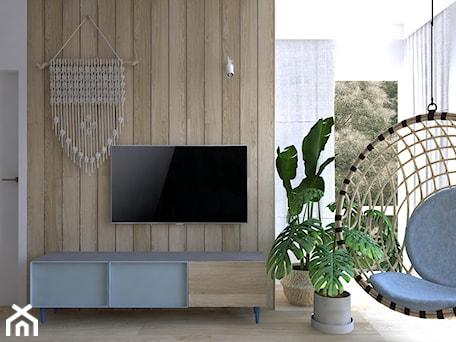 Mieszkanie w błękitach - Średni biały salon, styl nowoczesny - zdjęcie od DYLIK DESIGN