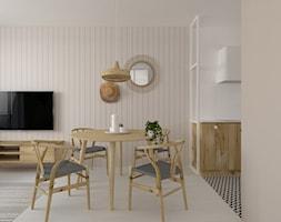 Boho | Rustykalnie - Średni szary salon z kuchnią z jadalnią, styl rustykalny - zdjęcie od DYLIK DESIGN