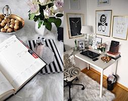 Biurko osobiste - Średnie białe biuro kącik do pracy w pokoju, styl glamour - zdjęcie od Zoyka HOME
