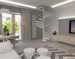 Mieszkanie w szarościach w stylu skandynawskim - Średni szary biały salon z jadalnią, styl skandynawski - zdjęcie od Limonka Design Group
