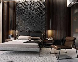 Maxliving - Średnia czarna sypialnia małżeńska, styl industrialny - zdjęcie od MAXFLIZ