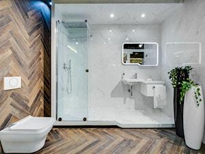 Łazienka w kolorach – biel, czerń, brąz
