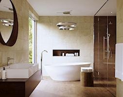 Płytki imitujące drewno - Duża beżowa łazienka na poddaszu w bloku w domu jednorodzinnym z oknem, styl minimalistyczny - zdjęcie od MAXFLIZ
