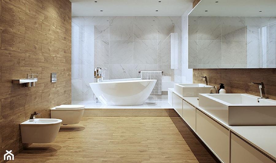 Płytki Imitujące Drewno Duża łazienka W Bloku W Domu