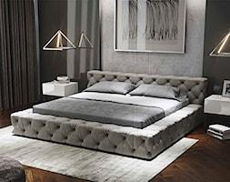 Maxliving - Mała szara czarna sypialnia małżeńska, styl eklektyczny - zdjęcie od MAXFLIZ