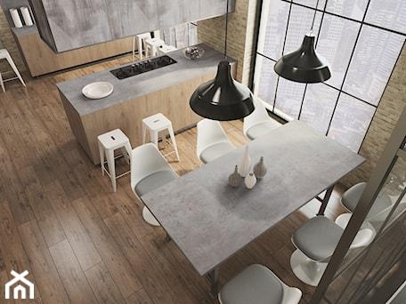 Aranżacje wnętrz - Kuchnia: Blaty kuchenne - Średnia otwarta kuchnia dwurzędowa z oknem, styl industrialny - SWISS KRONO. Przeglądaj, dodawaj i zapisuj najlepsze zdjęcia, pomysły i inspiracje designerskie. W bazie mamy już prawie milion fotografii!