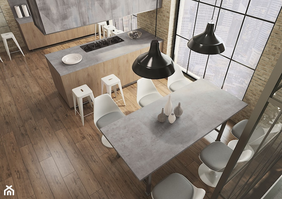 Blaty kuchenne - Średnia otwarta kuchnia dwurzędowa z oknem, styl industrialny - zdjęcie od SWISS KRONO