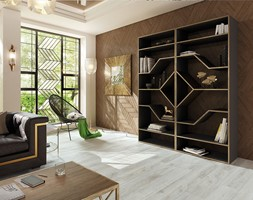 Wnętrze w stylu art déco - Mały biały brązowy salon z bibiloteczką, styl art deco - zdjęcie od SWISS KRONO