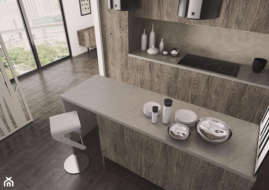 Blaty kuchenne - Mała otwarta kuchnia dwurzędowa w aneksie, styl eklektyczny - zdjęcie od SWISS KRONO