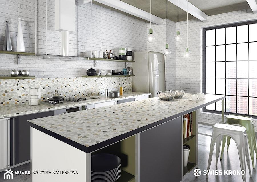 Aranżacje wnętrz - Kuchnia: Blaty kuchenne - Średnia otwarta biała kuchnia dwurzędowa z wyspą, styl eklektyczny - SWISS KRONO. Przeglądaj, dodawaj i zapisuj najlepsze zdjęcia, pomysły i inspiracje designerskie. W bazie mamy już prawie milion fotografii!