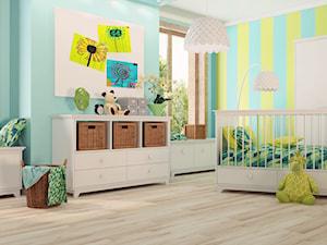Panele w pokoju dziecka - Średni szary żółty niebieski pokój dziecka dla chłopca dla dziewczynki dla niemowlaka, styl eklektyczny - zdjęcie od SWISS KRONO