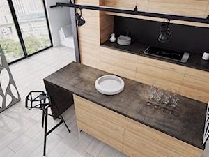 Blaty kuchenne - Średnia otwarta biała czarna kuchnia jednorzędowa z wyspą, styl eklektyczny - zdjęcie od SWISS KRONO