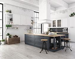 montaż paneli - Średnia otwarta biała czarna kuchnia dwurzędowa z wyspą z oknem, styl industrialny - zdjęcie od SWISS KRONO