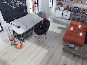 Panele z V-fugą - Średnie czarne szare biuro pracownia domowe w pokoju, styl nowoczesny - zdjęcie od SWISS KRONO