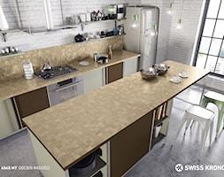 Blaty kuchenne - Duża otwarta biała kuchnia dwurzędowa z wyspą, styl industrialny - zdjęcie od SWISS KRONO