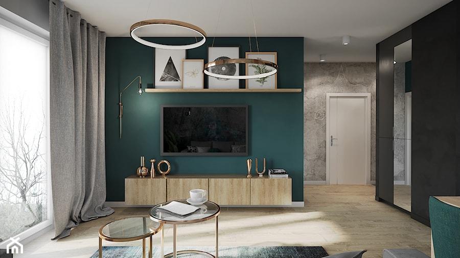 Mieszkanie w Krakowie - Średni zielony czarny salon, styl nowoczesny - zdjęcie od Przestrzenie