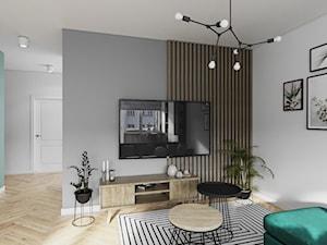 Mieszkanie 3 pokoje Marywilska - Średni szary biały salon, styl eklektyczny - zdjęcie od Przestrzenie