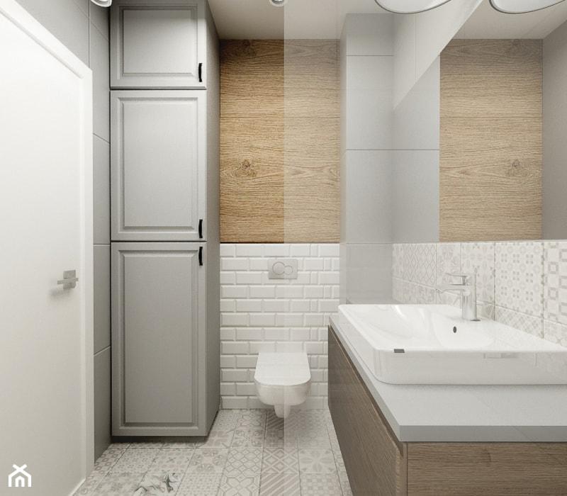 Nowoczesny styl prowansalski - Średnia biała szara łazienka w bloku w domu jednorodzinnym bez okna, styl prowansalski - zdjęcie od Przestrzenie