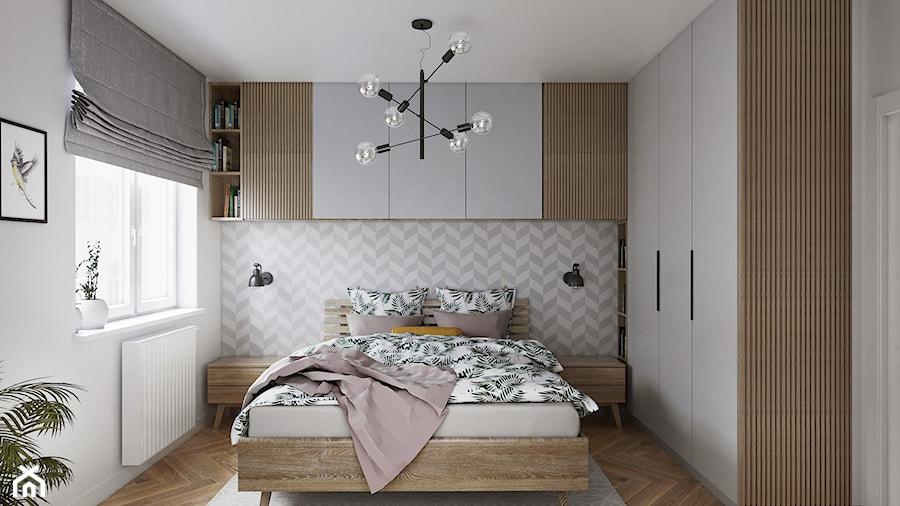 Mieszkanie 3 pokoje Marywilska - Średnia biała szara sypialnia małżeńska, styl eklektyczny - zdjęcie od Przestrzenie