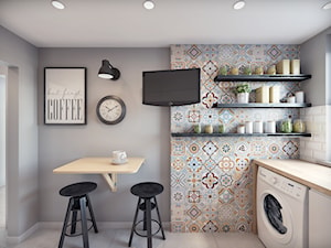 Remont mieszkania 50m2 - Średnia otwarta szara jadalnia w kuchni, styl nowoczesny - zdjęcie od Przestrzenie