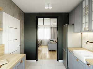 Dom - projekt zdalny - Średnia zamknięta szara czarna kuchnia dwurzędowa, styl industrialny - zdjęcie od Przestrzenie