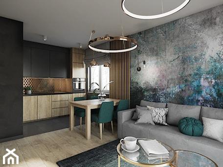Aranżacje wnętrz - Salon: Mieszkanie w Krakowie - Średni czarny salon z kuchnią z jadalnią, styl nowoczesny - Przestrzenie. Przeglądaj, dodawaj i zapisuj najlepsze zdjęcia, pomysły i inspiracje designerskie. W bazie mamy już prawie milion fotografii!