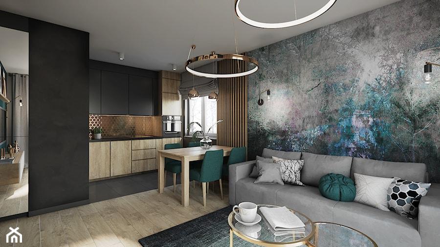 Mieszkanie w Krakowie - Średni czarny salon z kuchnią z jadalnią, styl nowoczesny - zdjęcie od Przestrzenie