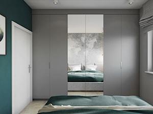 Mieszkanie w Krakowie - Średnia szara turkusowa sypialnia małżeńska, styl nowoczesny - zdjęcie od Przestrzenie