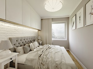 Nowoczesny styl prowansalski - Mała biała szara sypialnia małżeńska, styl nowoczesny - zdjęcie od Przestrzenie