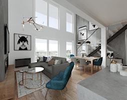 Mieszkanie z antresolą - Kraków - Duży szary biały salon z kuchnią z jadalnią, styl nowoczesny - zdjęcie od Przestrzenie