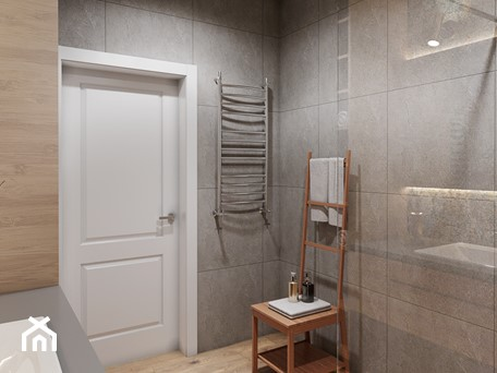 Aranżacje wnętrz - Łazienka: Łazienka z drewnem - Średnia biała szara łazienka bez okna, styl nowoczesny - Przestrzenie. Przeglądaj, dodawaj i zapisuj najlepsze zdjęcia, pomysły i inspiracje designerskie. W bazie mamy już prawie milion fotografii!