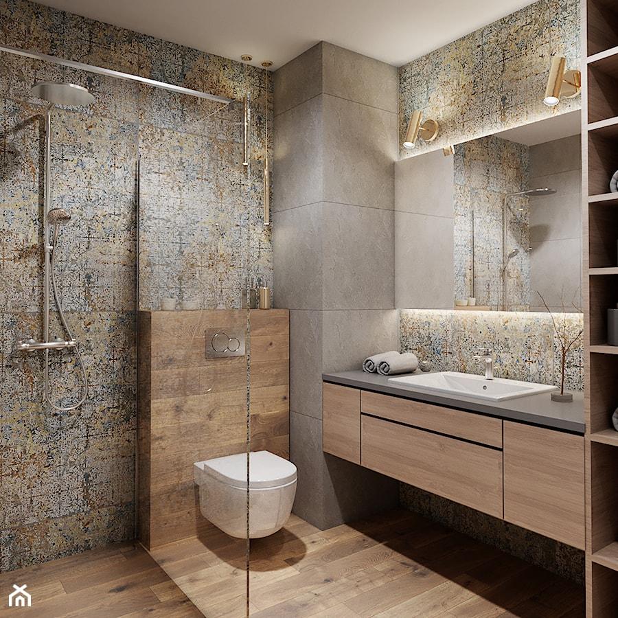 Łazienka z drewnem - Średnia beżowa szara łazienka bez okna, styl nowoczesny - zdjęcie od Przestrzenie
