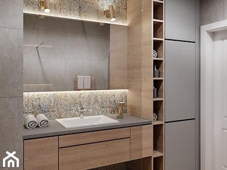Aranżacje wnętrz - Łazienka: Łazienka z drewnem - Średnia beżowa szara łazienka bez okna, styl nowoczesny - Przestrzenie. Przeglądaj, dodawaj i zapisuj najlepsze zdjęcia, pomysły i inspiracje designerskie. W bazie mamy już prawie milion fotografii!