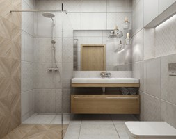 Kawalerka w stylu vintage - Średnia szara łazienka, styl vintage - zdjęcie od Przestrzenie