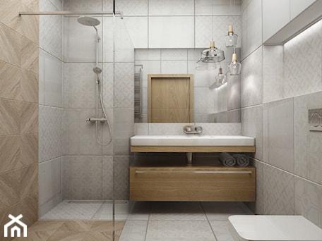 Aranżacje wnętrz - Łazienka: Kawalerka w stylu vintage - Średnia szara łazienka, styl vintage - Przestrzenie. Przeglądaj, dodawaj i zapisuj najlepsze zdjęcia, pomysły i inspiracje designerskie. W bazie mamy już prawie milion fotografii!