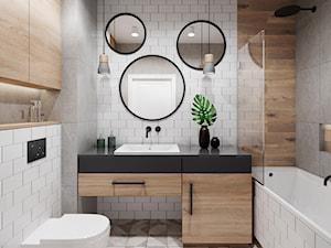 Mieszkanie 3 pokoje Marywilska - Mała biała szara łazienka bez okna, styl eklektyczny - zdjęcie od Przestrzenie
