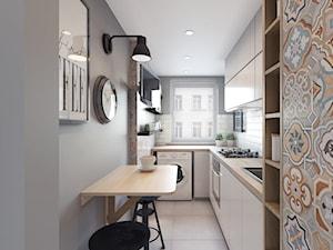 Remont mieszkania 50m2 - Średnia zamknięta wąska biała szara kuchnia w kształcie litery l z oknem, styl nowoczesny - zdjęcie od Przestrzenie