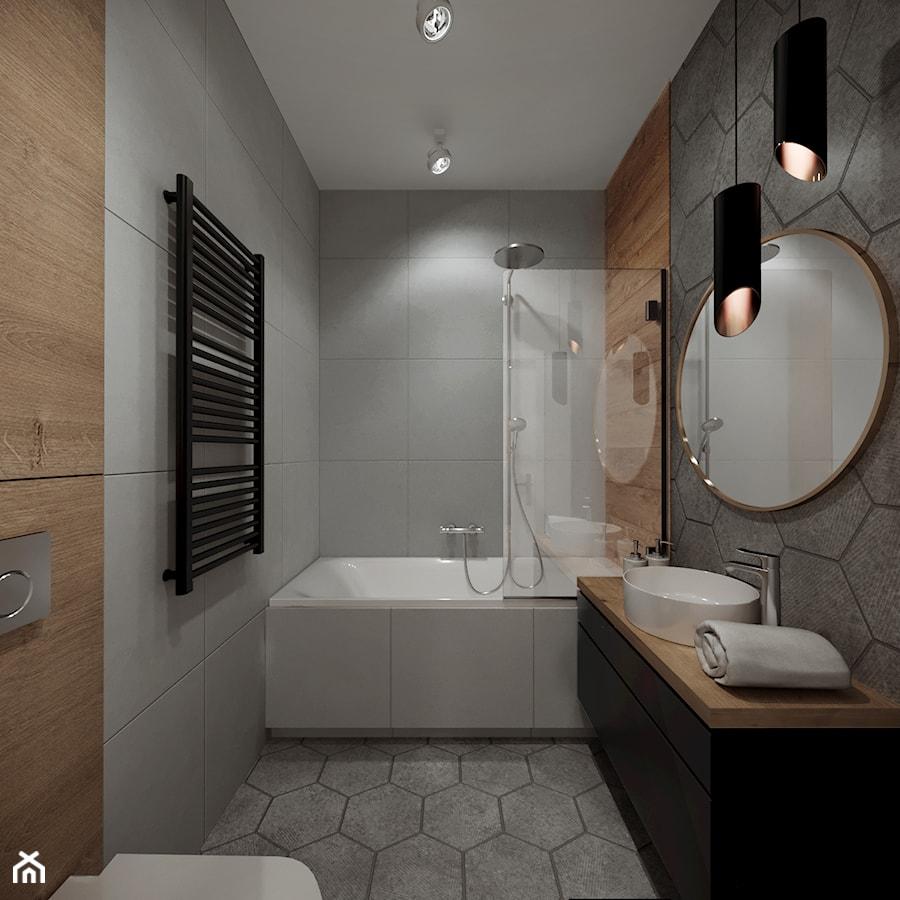 Mieszkanie z antresolą - Kraków - Mała łazienka w bloku w domu jednorodzinnym bez okna, styl nowoczesny - zdjęcie od Przestrzenie