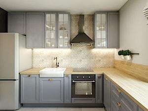 Dom - projekt zdalny - Średnia zamknięta szara kuchnia w kształcie litery l z oknem, styl industrialny - zdjęcie od Przestrzenie