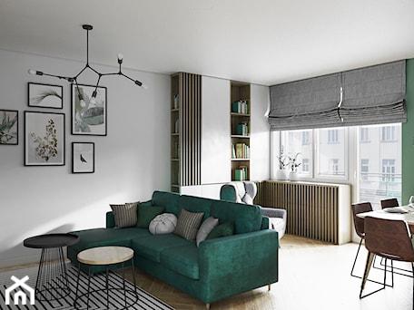 Aranżacje wnętrz - Salon: Mieszkanie 3 pokoje Marywilska - Średni biały zielony salon z jadalnią z tarasem / balkonem, styl eklektyczny - Przestrzenie. Przeglądaj, dodawaj i zapisuj najlepsze zdjęcia, pomysły i inspiracje designerskie. W bazie mamy już prawie milion fotografii!
