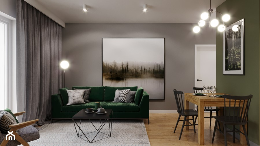 Mieszkanie w leśnym klimacie - Salon, styl nowoczesny - zdjęcie od Przestrzenie