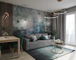 Mieszkanie w Krakowie - Średni szary salon z jadalnią z tarasem / balkonem, styl glamour - zdjęcie od Przestrzenie - Homebook
