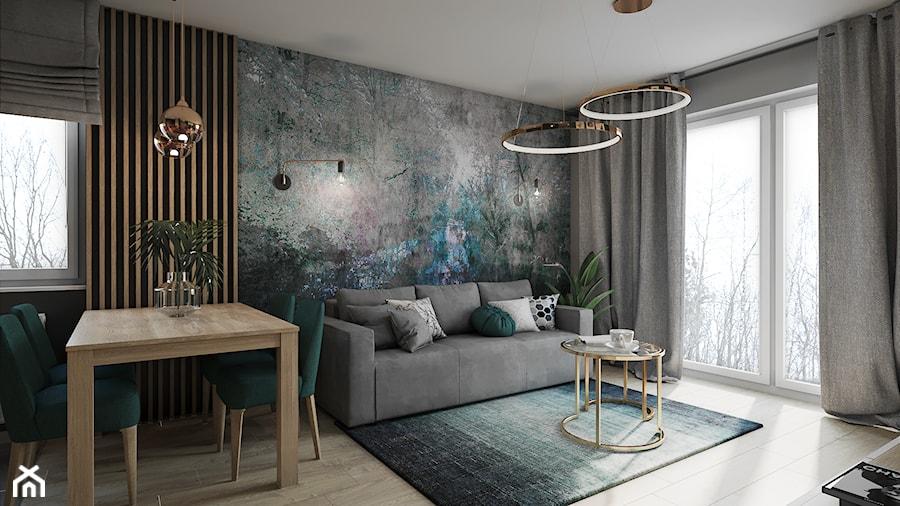 Mieszkanie w Krakowie - Średni szary salon z jadalnią z tarasem / balkonem, styl glamour - zdjęcie od Przestrzenie