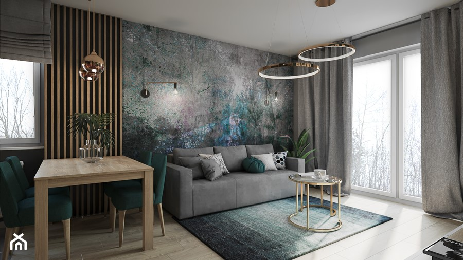 Mieszkanie w Krakowie - Średni szary salon z jadalnią z tarasem / balkonem, styl nowoczesny - zdjęcie od Przestrzenie