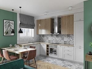 Mieszkanie 3 pokoje Marywilska - Średnia otwarta biała szara zielona kuchnia w kształcie litery l w aneksie z oknem, styl eklektyczny - zdjęcie od Przestrzenie