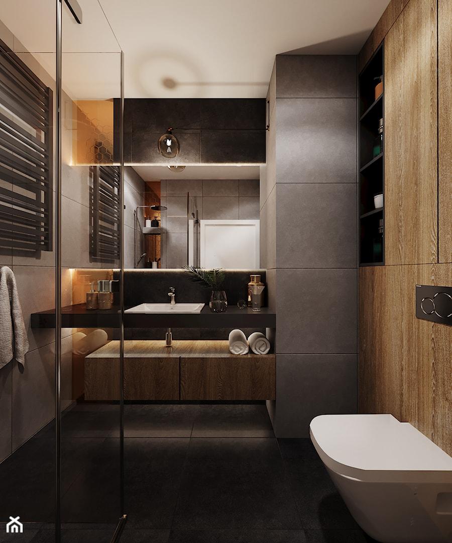 Mieszkanie w Krakowie - Średnia łazienka w bloku w domu jednorodzinnym bez okna, styl nowoczesny - zdjęcie od Przestrzenie